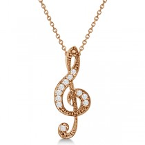 Women's Diamond Musical Note Pendant Necklace 14k Rose Gold 0.11ct