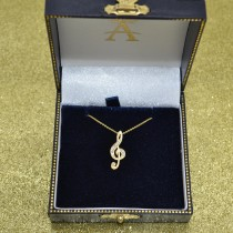 Women's Diamond Musical Note Pendant Necklace 14k Yellow Gold 0.11ct