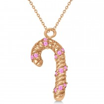 Pink Sapphire Candy Cane Pendant Necklace 14k Rose Gold (0.07ct)