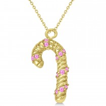 Pink Sapphire Candy Cane Pendant Necklace 14k Yellow Gold (0.07ct)
