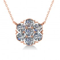Diamond Flower Cluster Pendant Necklace 14k Rose Gold (1.06ct)