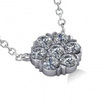 Diamond Flower Cluster Pendant Necklace 14k White Gold (1.06ct)