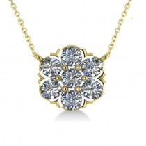 Diamond Flower Cluster Pendant Necklace 14k Yellow Gold (1.06ct)