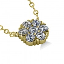 Diamond Flower Cluster Pendant Necklace 14k Yellow Gold (1.06ct)