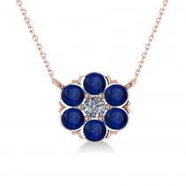 Blue Sapphire & Diamond Cluster Pendant Necklace 14k Rose Gold (1.06ct)