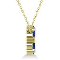 Blue Sapphire & Diamond Cluster Pendant Necklace 14k Yellow Gold (1.06ct)