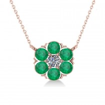 Emerald & Diamond Cluster Pendant Necklace 14k Rose Gold (1.06ct)