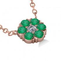 Emerald & Diamond Cluster Pendant Necklace 14k Rose Gold (1.06ct)