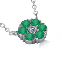 Emerald & Diamond Cluster Pendant Necklace 14k White Gold (1.06ct)