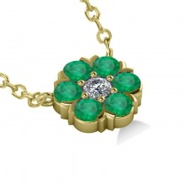 Emerald & Diamond Cluster Pendant Necklace 14k Yellow Gold (1.06ct)
