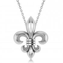 Fleur De Lis Pendant Necklace 14k White Gold