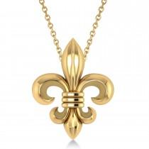 Fleur De Lis Pendant Necklace 14k Yellow Gold