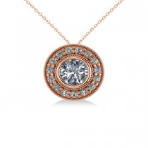 Round Diamond Halo Pendant Necklace 14k Rose Gold (1.45ct)