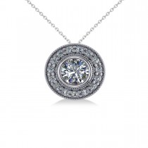 Round Diamond Halo Pendant Necklace 14k White Gold (1.45ct)