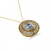 Round Diamond Halo Pendant Necklace 14k Yellow Gold (1.45ct)