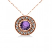 Round Amethyst & Diamond Halo Pendant Necklace 14k Rose Gold (1.55ct)