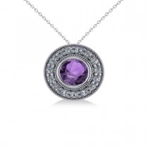 Round Amethyst & Diamond Halo Pendant Necklace 14k White Gold (1.55ct)