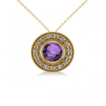 Round Amethyst & Diamond Halo Pendant Necklace 14k Yellow Gold (1.55ct)