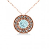 Round Aquamarine & Diamond Halo Pendant Necklace 14k Rose Gold (1.76ct)