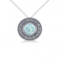 Round Aquamarine & Diamond Halo Pendant Necklace 14k White Gold (1.76ct)