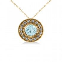 Round Aquamarine & Diamond Halo Pendant Necklace 14k Yellow Gold (1.76ct)