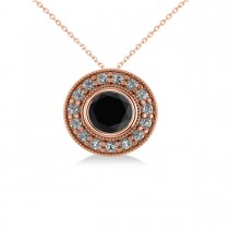 Round Black Diamond & Diamond Halo Pendant Necklace 14k Rose Gold (1.45ct)