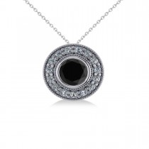 Round Black Diamond & Diamond Halo Pendant Necklace 14k White Gold (1.45ct)