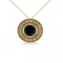 Round Black Diamond & Diamond Halo Pendant Necklace 14k Yellow Gold (1.45ct)