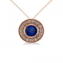 Round Blue Sapphire & Diamond Halo Pendant Necklace 14k Rose Gold (1.86ct)