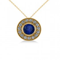 Round Blue Sapphire & Diamond Halo Pendant Necklace 14k Yellow Gold (1.86ct)