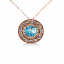 Round Blue Topaz & Diamond Halo Pendant Necklace 14k Rose Gold (1.81ct)