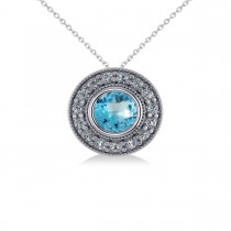 Round Blue Topaz & Diamond Halo Pendant Necklace 14k White Gold (1.81ct)