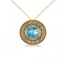 Round Blue Topaz & Diamond Halo Pendant Necklace 14k Yellow Gold (1.81ct)