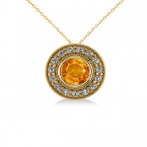 Round Citrine & Diamond Halo Pendant Necklace 14k Yellow Gold (1.55ct)