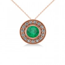 Round Emerald & Diamond Halo Pendant Necklace 14k Rose Gold (1.71ct)