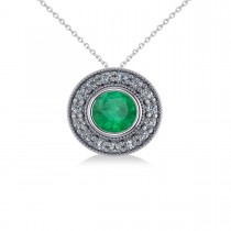 Round Emerald & Diamond Halo Pendant Necklace 14k White Gold (1.71ct)