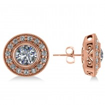 Diamond Halo Round Earrings 14k Rose Gold (2.90ct)