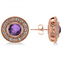Amethyst & Diamond Halo Round Earrings 14k Rose Gold (3.10ct)