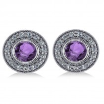 Amethyst & Diamond Halo Round Earrings 14k White Gold (3.10ct)
