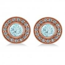 Aquamarine & Diamond Halo Round Earrings 14k Rose Gold (3.52ct)