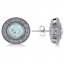 Aquamarine & Diamond Halo Round Earrings 14k White Gold (3.52ct)