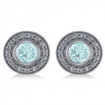 Aquamarine & Diamond Halo Round Earrings 14k White Gold (3.52ct)