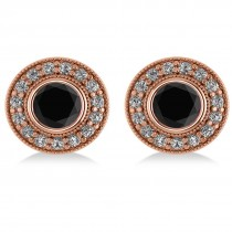 Black Diamond & Diamond Halo Round Earrings 14k Rose Gold (2.90ct)