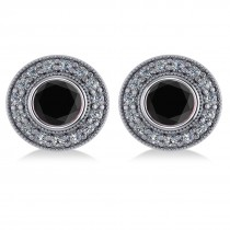 Black Diamond & Diamond Halo Round Earrings 14k White Gold (2.90ct)