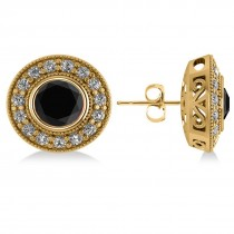 Black Diamond & Diamond Halo Round Earrings 14k Yellow Gold (2.90ct)
