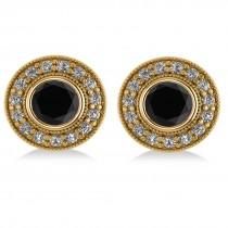 Black Diamond & Diamond Halo Round Earrings 14k Yellow Gold (2.90ct)
