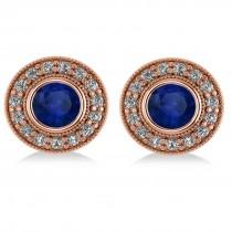 Blue Sapphire & Diamond Halo Round Earrings 14k Rose Gold (3.72ct)