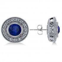 Blue Sapphire & Diamond Halo Round Earrings 14k White Gold (3.72ct)