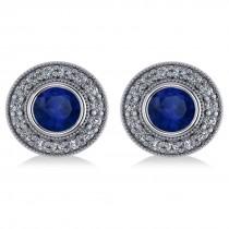 Blue Sapphire & Diamond Halo Round Earrings 14k White Gold (3.72ct)