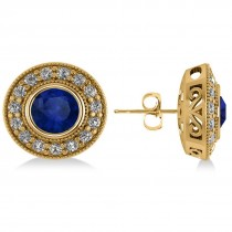 Blue Sapphire & Diamond Halo Round Earrings 14k Yellow Gold (3.72ct)